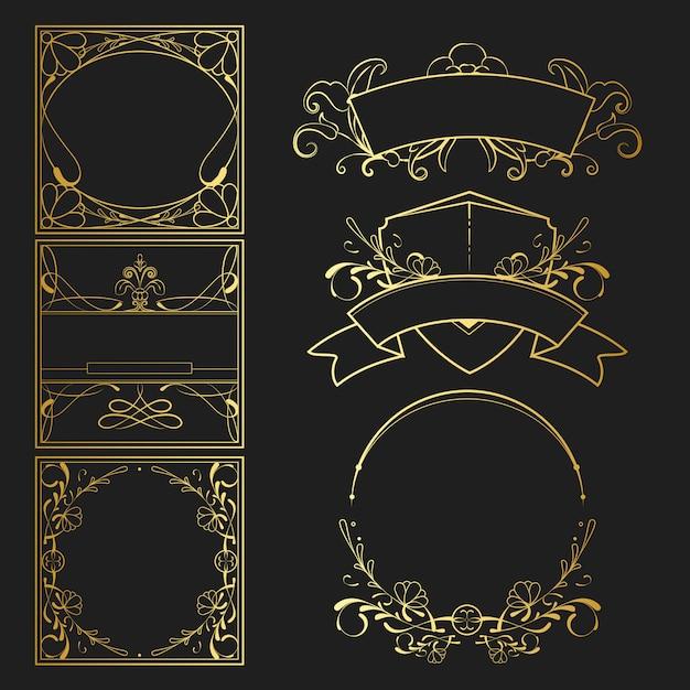 Set of vintage golden art nouveau elements vector Free Vector