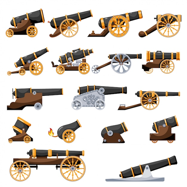 Set vintage gun Premium Vector