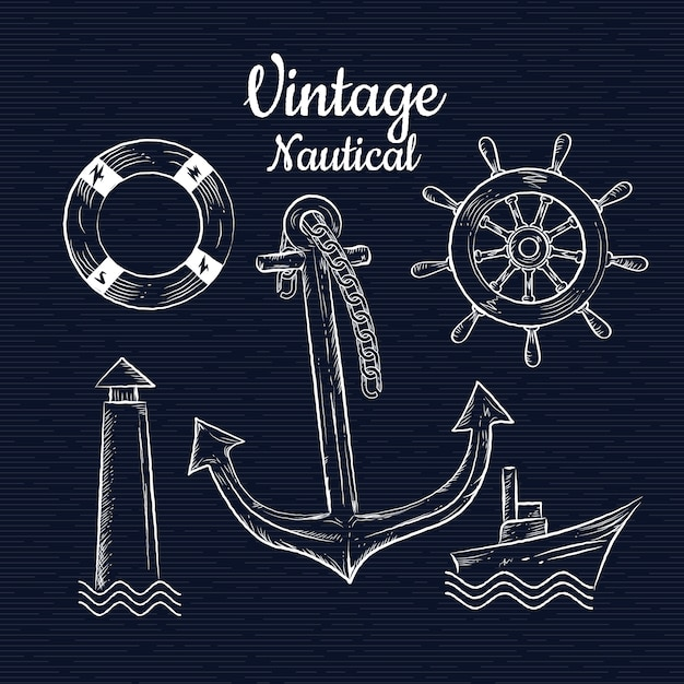 Set vintage hand drawn nautica vector illustration Premium Vector