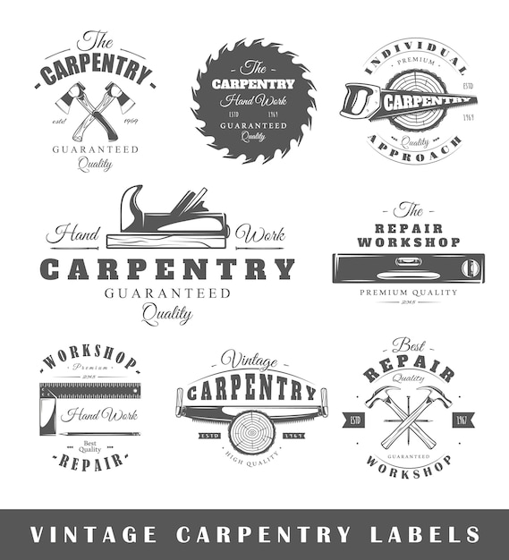 Set of vintage labels carpentry. Premium Vector
