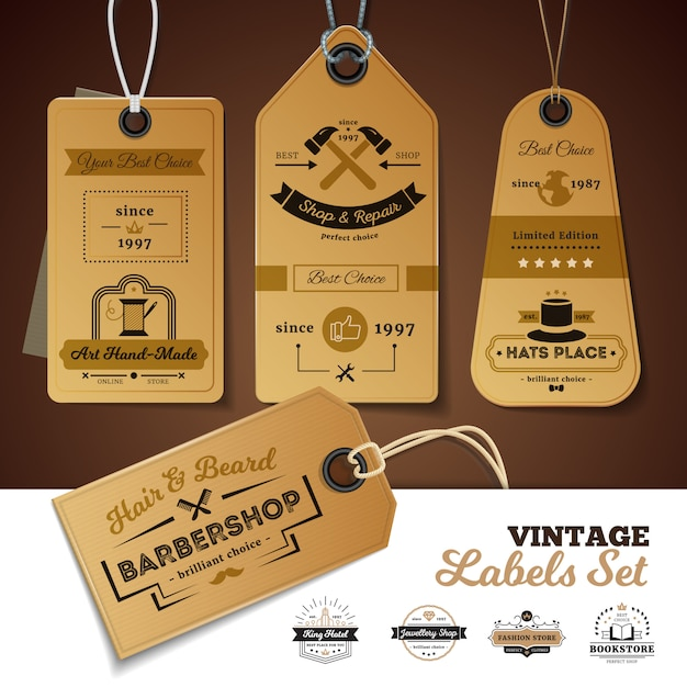 Set of vintage labels of shops with design of 3d cardboard tags Free Vector