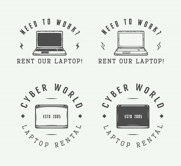 Set of vintage laptop logo, emblem, badge and design elements Premium Vector