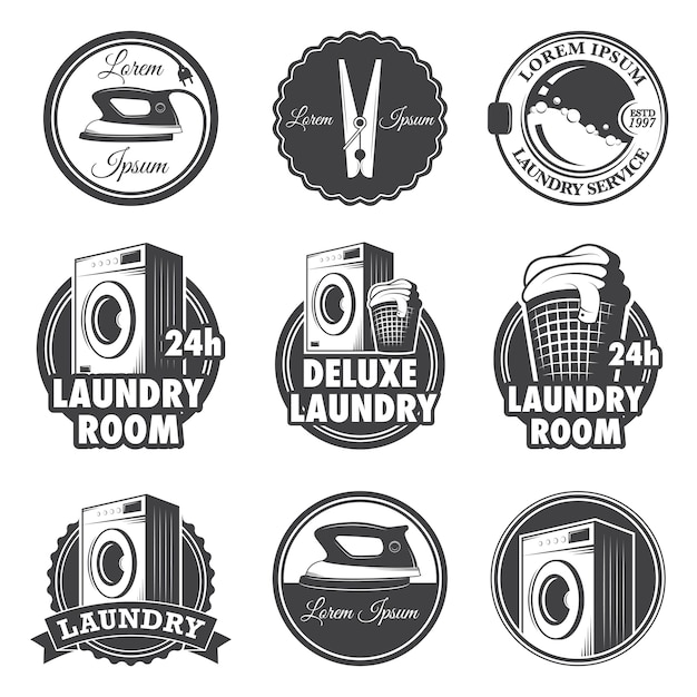 Set of vintage laundry emblems, labels and designed elements. Free Vector
