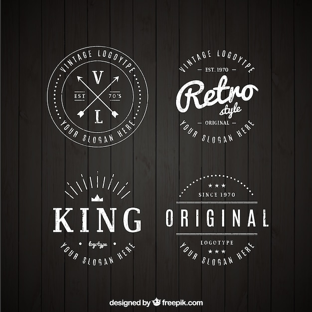 Set Of Vintage Logos In Linear Style Vector Free Download
