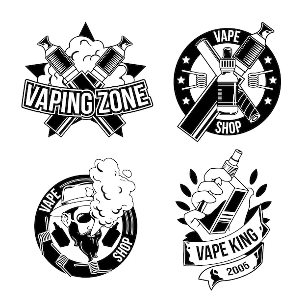 Set di emblemi vintage boscaiolo, loghi. isolato su bianco Vettore gratuito