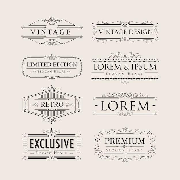Set vintage luxury calligraphy flourishes elegant logos badges v Premium Vector