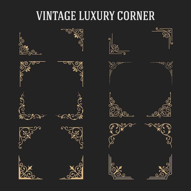 Set of vintage luxury corner design Premium Vector