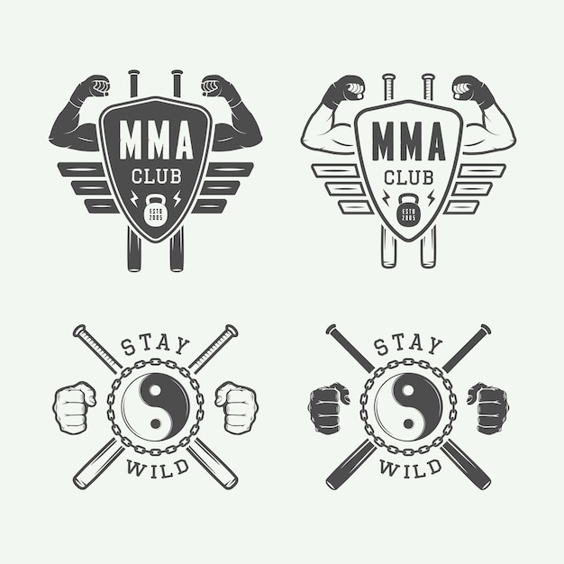 Set of vintage mixed martial arts or fighting club logos Premium Vector