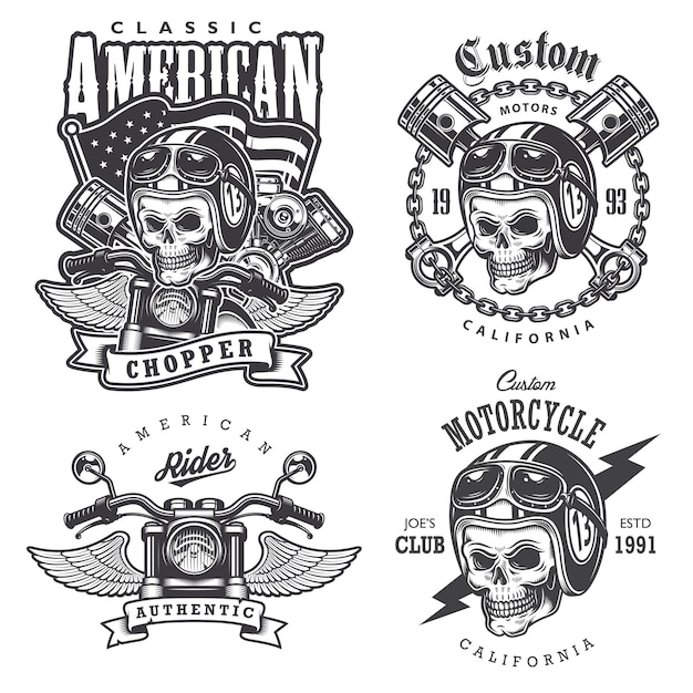 Set of vintage motorcycle  t-shirt prints, emblems, labels, badges and logos. monochrome style. isolated on white background Free Vector