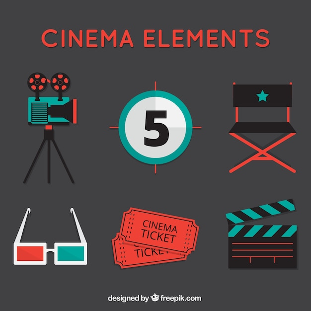 Set of vintage movie elements Free Vector