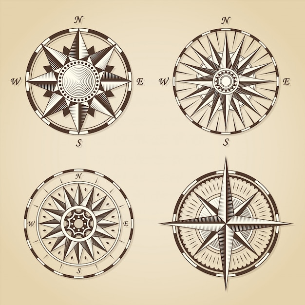 Set of vintage old antique nautical compass roses Premium Vector