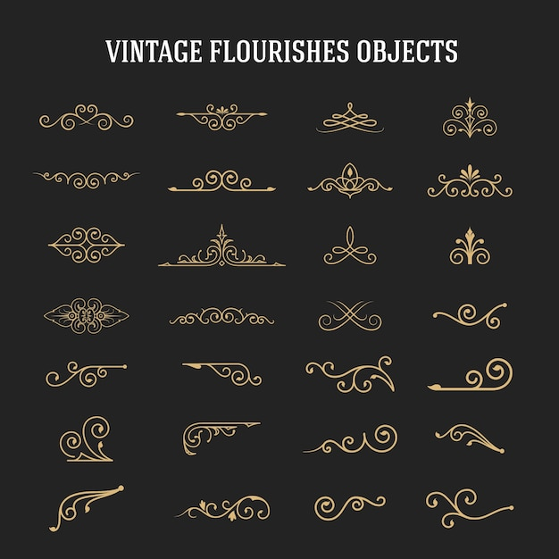 Set of vintage ornamental flourishes Premium Vector