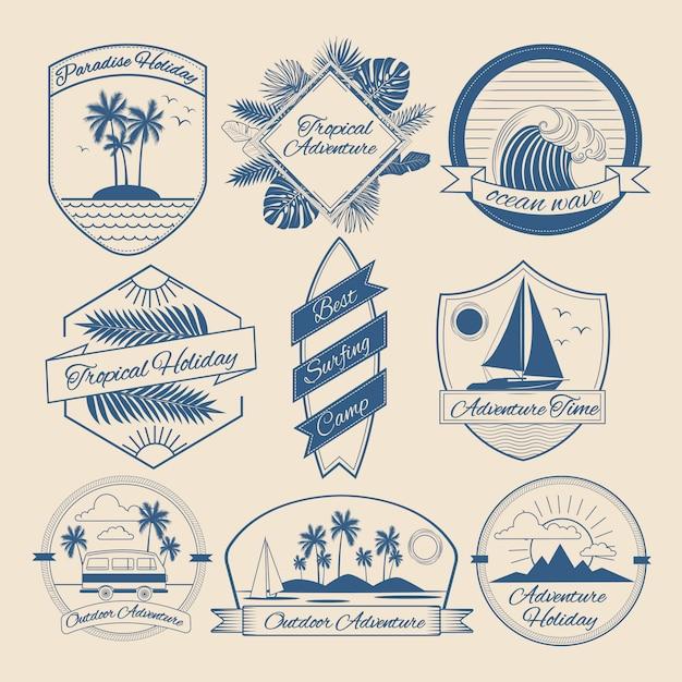 Set of vintage outdoor adventure badges Premium Vector