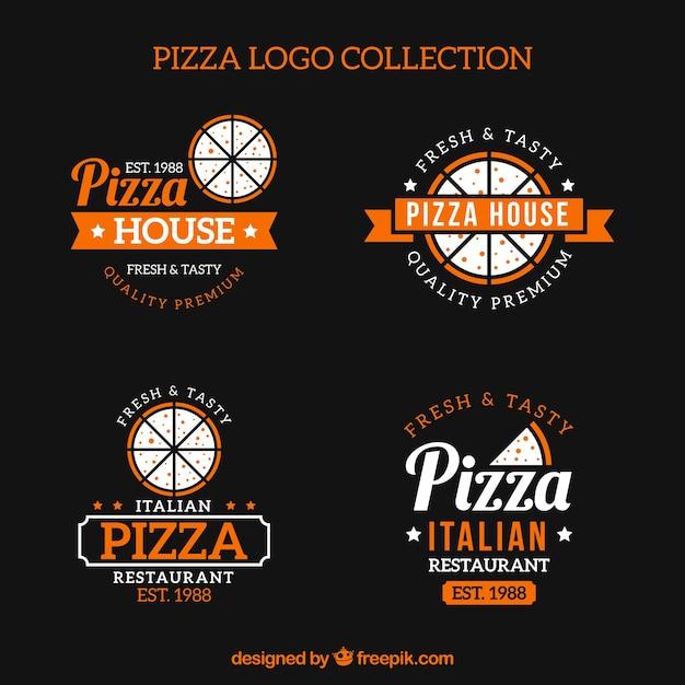Set of vintage pizza logos Free Vector