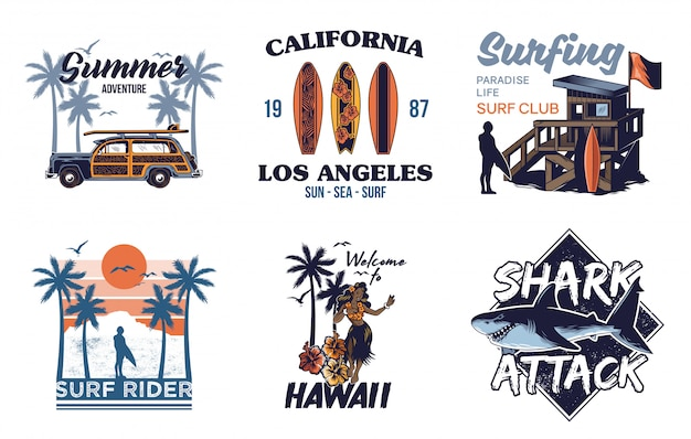 Set vintage print collection summer hawaii california paradise surfing retro icons logo with sea ocean animals wave view palms travel beach surfer for  t shirt sticker patch fashion illustration Premium Vector