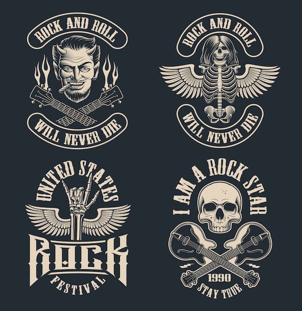 Set of vintage rock and roll emblems on dark background. perfect for the shirt s and many other. text is on the separate group. Premium Vector