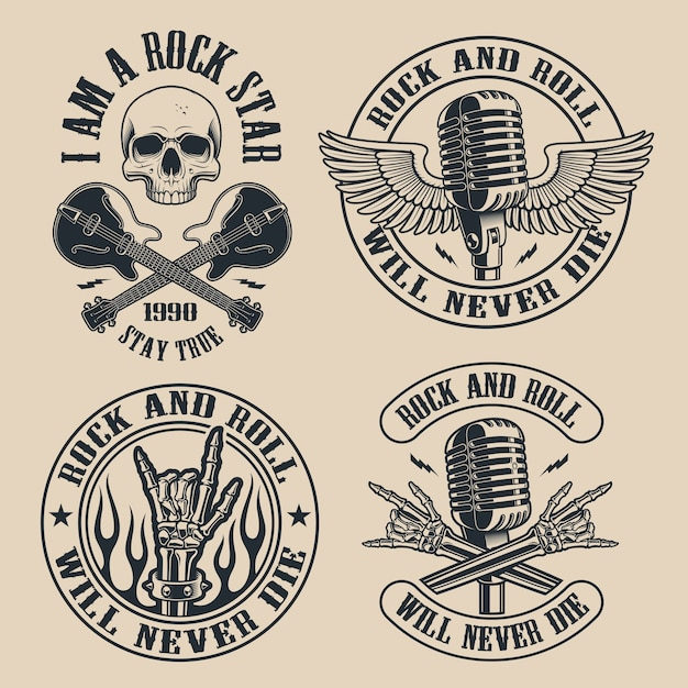 Set of vintage rock and roll emblems with shull on dark background. perfect for the shirt s and many other. text is on the separate group. Premium Vector