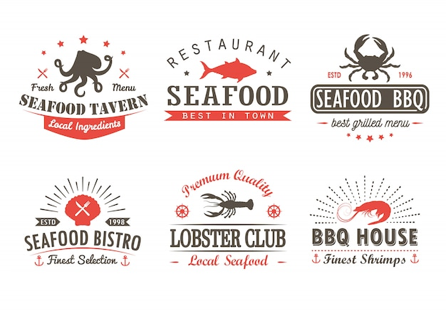Set of vintage seafood, barbecue, grill logo templates and badges Premium Vector