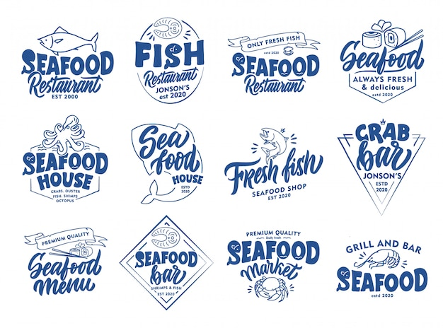 Set of vintage seafood emblems and stamps. fish bar badges, stickers   isolated. Premium Vector