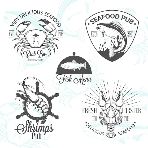 Set of vintage seafood logos with fish Premium Vector