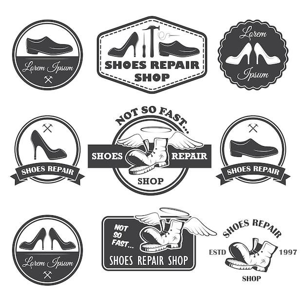 Set di etichette di riparazione di scarpe vintage, emblemi ed elementi progettati. Vettore gratuito