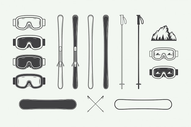 Set of vintage snowboarding or winter sports design elements. illustration. monochrome graphic art. Premium Vector