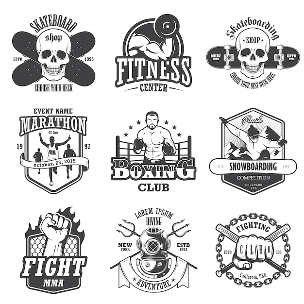 Set of vintage sports emblems, labels, badges and logos. monochrome style Free Vector