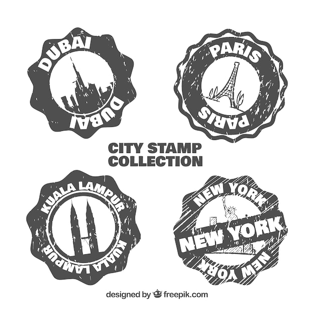 Set of vintage stamps of hand drawn cities Free Vector