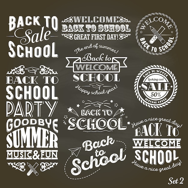 A set of vintage style back to school sale and party on black chalkboard background Premium Vector