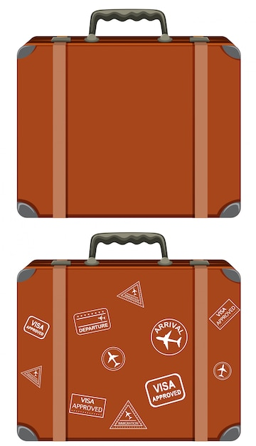 A set of vintage suitcase Free Vector