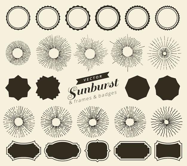 Set of vintage sunbursts badges and frames for your design. trendy hand drawn retro bursting rays design elements.  geometric labels Premium Vector