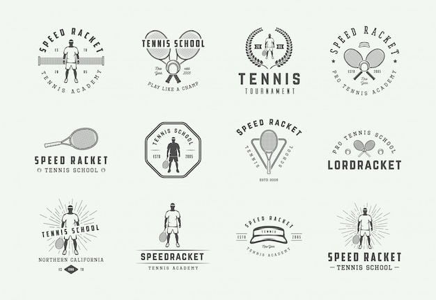Set of vintage tennis logos, emblems, badges, labels and design elements. illustration. monochrome graphic art. Premium Vector