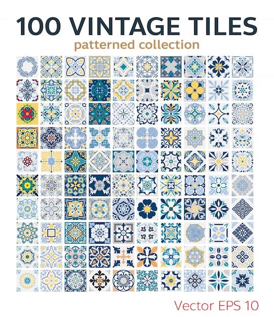 Set vintage tiles patterns antique seamless design Premium Vector