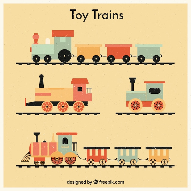 Set of vintage toy trains Free Vector