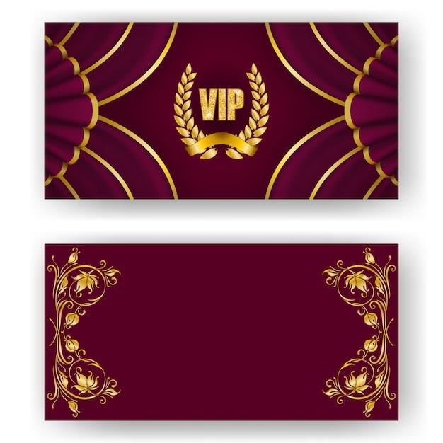 Set of vip card, invitation with laurel wreath Premium Vector