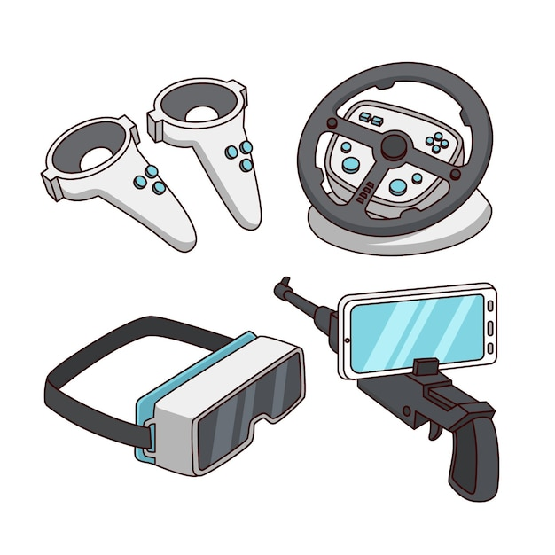 Set of virtual reality equipment elements Free Vector
