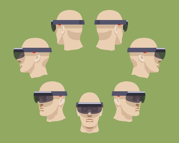 Set of the virtual reality headsets Premium Vector