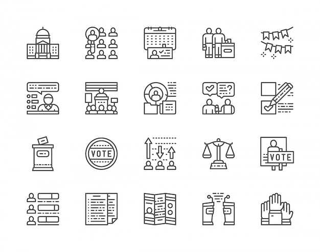 Set of voting and elections icons Premium Vector