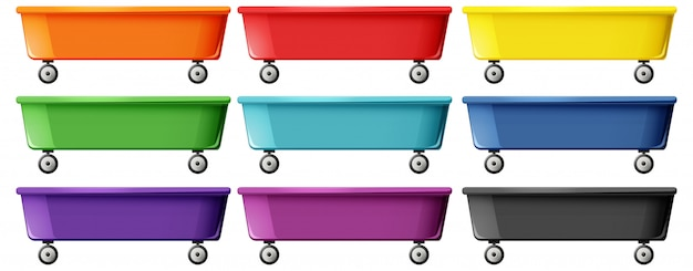 Set of wagon toy Free Vector