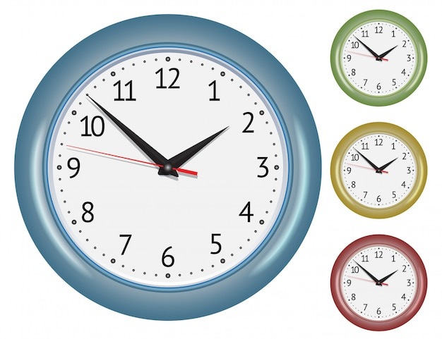 Set of wall mechanical clocks. Premium Vector
