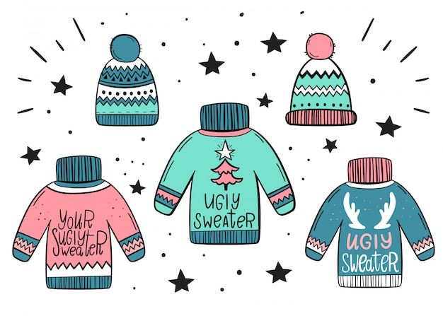 Set of warm sweaters and hats. hand-drawn style. Premium Vector