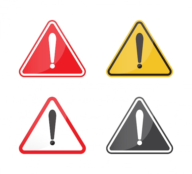 Set of warning sign. Premium Vector