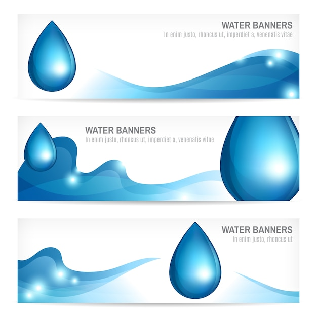 Set of water drops wavy abstract nature splash banners design vector illustration Free Vector