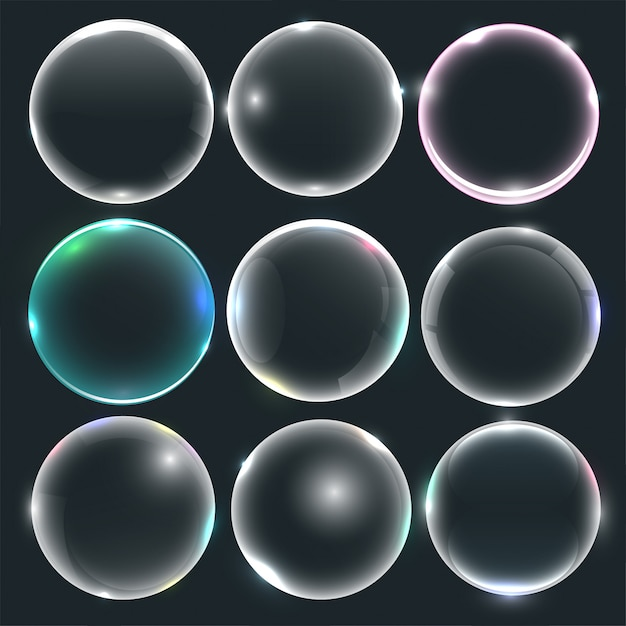 Set of water or soap bubbles Free Vector