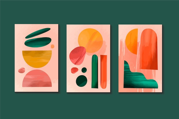 Set of watercolor abstract covers Free Vector