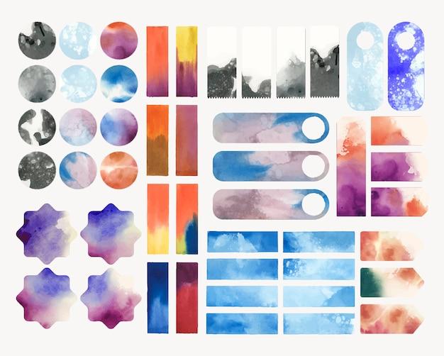 Set of watercolor backgrounds vector Free Vector
