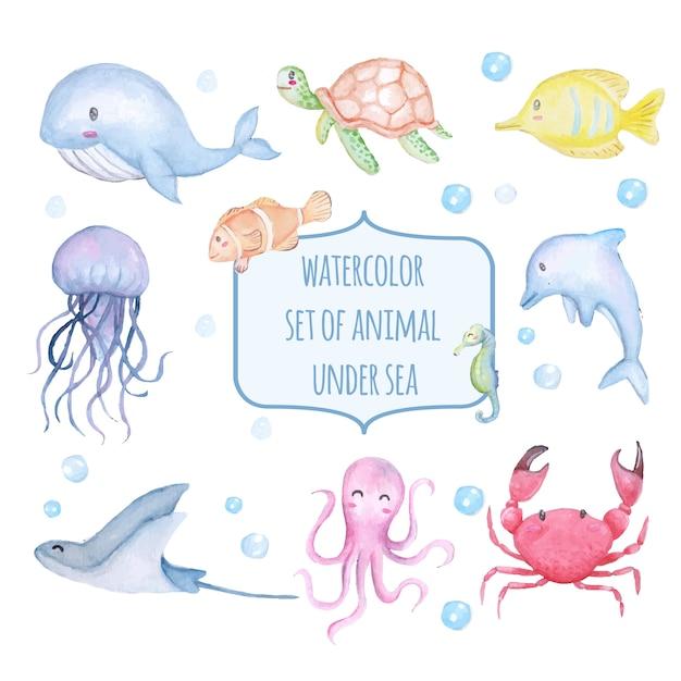 Set of watercolor cute animal under sea Premium Vector