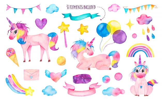 Set di unicorni magici carini dell'acquerello con arcobaleno, palloncini, bacchetta magica Vettore gratuito