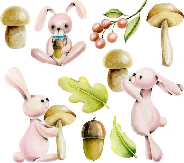 Set of watercolor cute rabbits and autumn plants Premium Vector