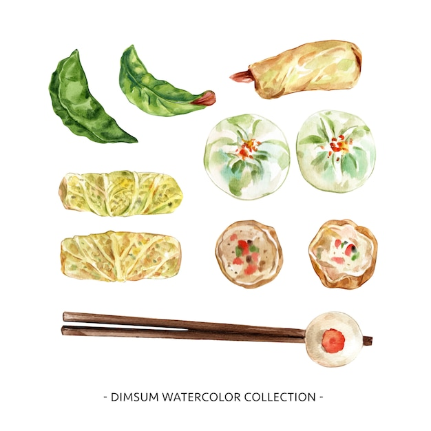Set of watercolor dim sum illustration  for decorative use. Free Vector